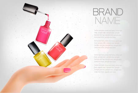 Manicured hands and several nail laquer bottles. Vector illustration Illustration