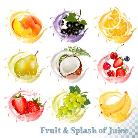 Ensemble d'éclaboussures de jus de fruits. Pêche, orange, poire, raisin, banane, noix de coco, myrtille, fraise, framboise et mûre. Vecteur Banque d'images - 80930923