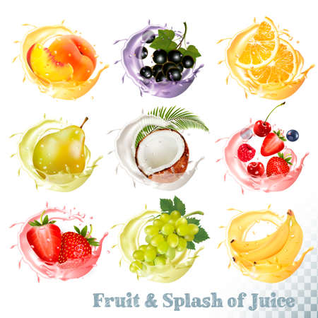 Set of fruit juice splash . Peach, orange, pear, grapes, banana, coconut, blueberry, strawberry, raspberry and blackberry. Vector