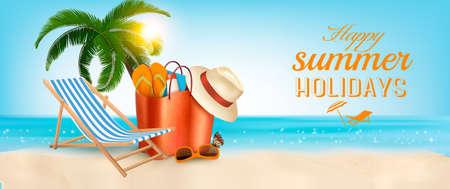 Tropisch eiland met palmen, een strandstoel en een oceaan. Vakantie vector banner.