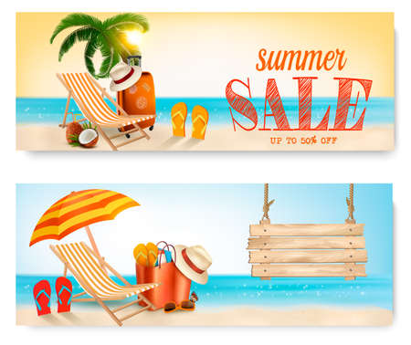 Two summer sale banners with beach chair and ocean. Illustration