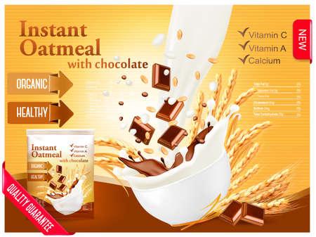 인스턴트 죽 광고 개념입니다. 곡물과 초콜릿 그릇에 흐르는 우유. 벡터. 일러스트