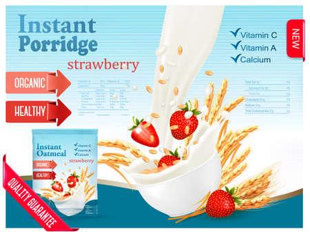 インスタントお粥広告コンセプト。ミルク粒とイチゴのボウルに流れます。ベクトル。
