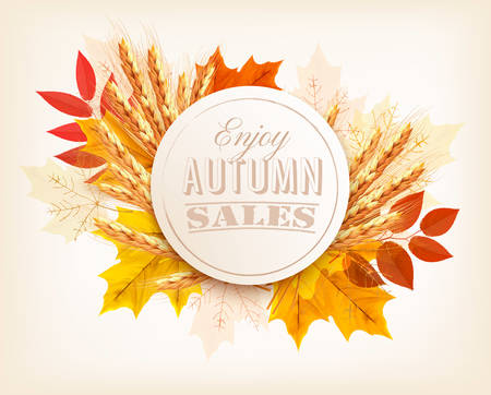fall leaves: Autumn Sales Banner With Colorful Leaves and wheat. Vector.