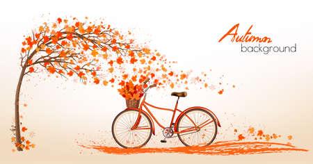 fond d & # 39 ; automne avec un arbre et des feuilles colorées . vecteur