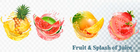 Set of fruit juice splash . Pineapple, strawberry, watermelon, mango and guava. Vector