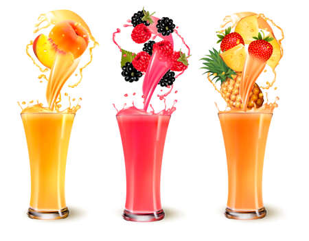 rasberry: Set of fruit juice splash in a glass. Strawberry peach, rasberry, pineapple and blackberry. Vector