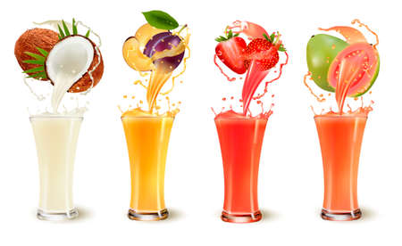 Set of fruit juice splash in a glass. Coconut, plum, strawberry and guava. Vector Illustration