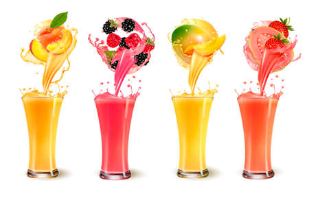 Set of fruit juice splash in a glass.