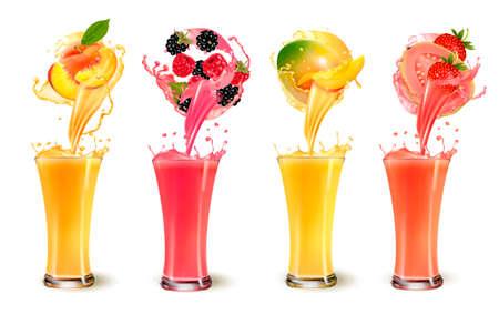 Set of fruit juice splash in a glass.