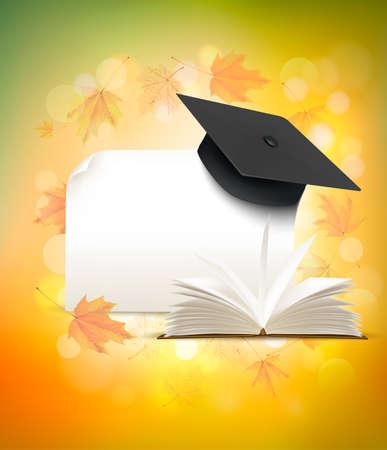 Graduation cap on autumn background. Illustration