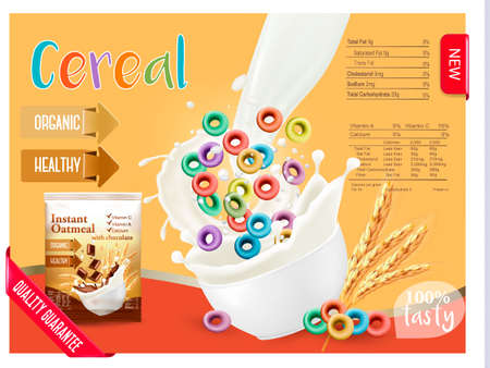 Milk flowing into a bowl with cereal. Design element for packaging and advertising. Vector Ilustração