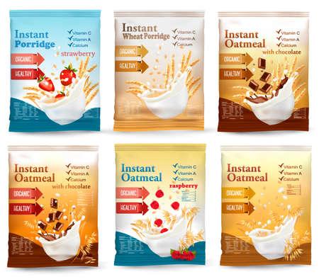 Instant porridge advert concept. Desing template. Vector Vettoriali