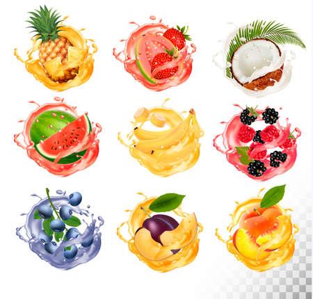 Zestaw soków owocowych splash. Ananas, truskawka, arbuz, mango, brzoskwinia, jeżyna, malina, banan, guawa, bueberry, kokos. Wektor