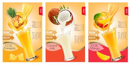 フルーツ ジュース水しぶきのラベルのセット。パイナップル、ココナッツ、マンゴー。ベクトル。