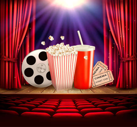 Cinema background with a film reel, popcorn, drink and tickets. Vector.