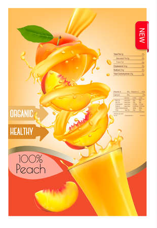 Label of peach juice splash in a glass. Desing template. Vector. Vettoriali