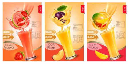 Set of labels of of fruit in juice splashes. Strawberry, guava, plum, mango. Vector.