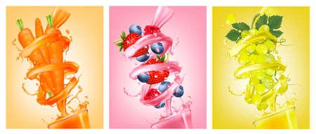Set of labels of of fruit in juice splashes.