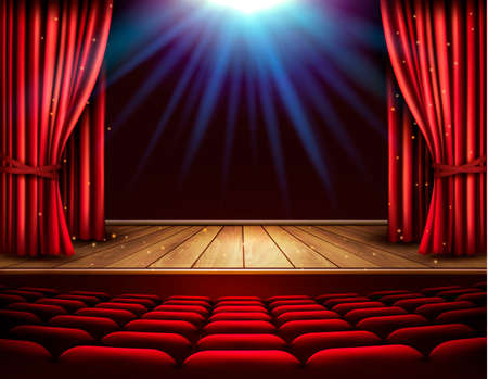 Festival night show poster. A theater stage with a red curtain and a spotlight. Vector. Illustration