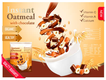 Instant oatmeal with chocolate and hazelnut advert concept. Milk flowing into a bowl with grain and nuts. Vector.
