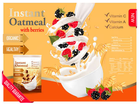 template: Instant oatmeal with raspberry and blackberry advert concept. Milk flowing into a bowl with grain and berries. Vector.