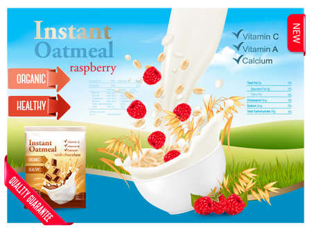 Instant oatmeal with strawberry advert concept. Milk flowing into a bowl with grain and berries. Vector. Illustration