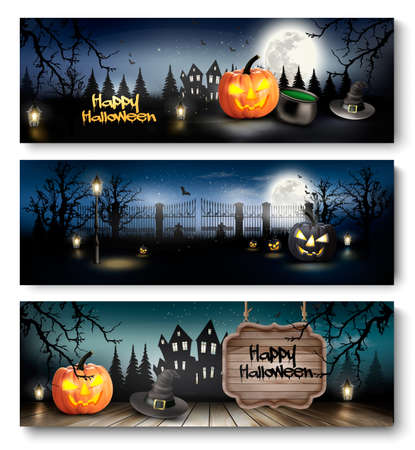 autumn background: Group of Halloween banners with pumpkins and moon. Vector. Illustration