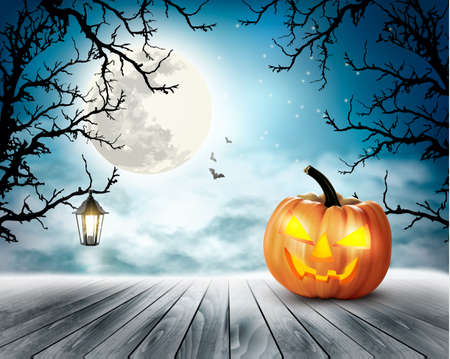 autumn background: Scary Halloween background with pumpkin and moon. Vector.