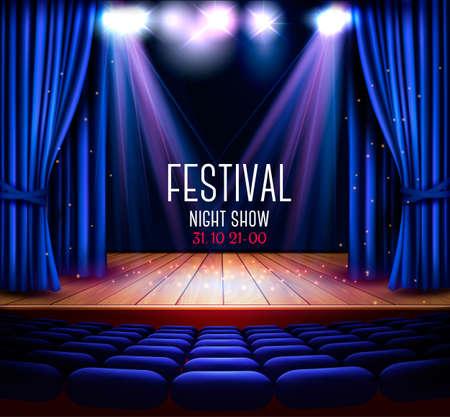 파란색 커튼 및 스포트 라이트와 함께 극장 무대. 축제 밤 쇼 배경.