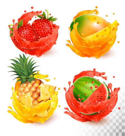 Set of fruit juice splash. Mango, strawberry, watermelon, pineapple, Vector.