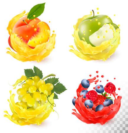 Set of fruit juice splash. Grapes, apple, peach, blueberry, raspberry, strawberry. 版權商用圖片 - 86625643