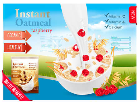 Instant oatmeal with berry advert concept. Milk flowing into a bowl with grain and raspberry. Vector. Illustration