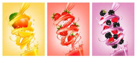 フルーツ ジュース水しぶきのラベルのセット。マンゴー、ストロベリー、ラズベリー、ブラックベリー。ベクトル。  イラスト・ベクター素材