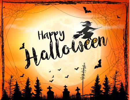 Halloween spooky design with witch in broomstick