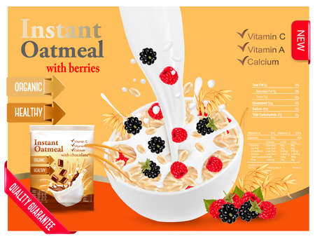 Milk flowing into a bowl with grain and berries Illustration