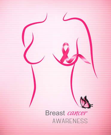 Rosa Hintergrund des Brustkrebs-Bewusstseins. Vektor. Standard-Bild - 88219084