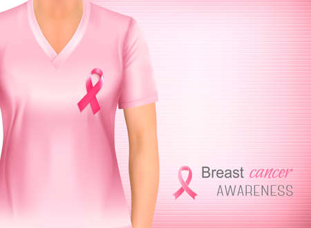 Breast cancer awareness pink background. Vector.