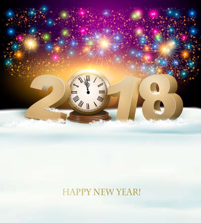 fire and ice: Happy New Year background with 2018, a clock and fireworks. Vector.