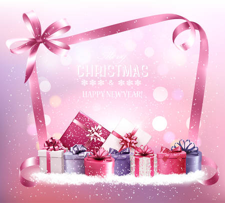 Christmas holiday background with gift boxes and pink ribbon. Vector.