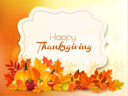 Happy Thanksgiving background with colorful leaves. Vector.