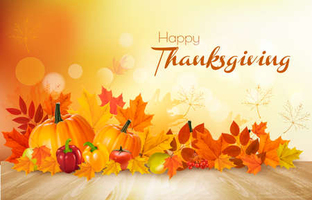Happy Thanksgiving background with autumn vegetables and colorful leaves. Vector. Illusztráció