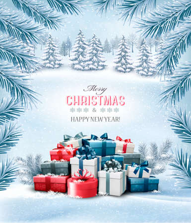 Christmas holiday background with colorful gift boxes. Vector.