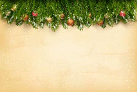 古い紙の背景に木の枝でのクリスマスの休日の装飾。ベクトル。  イラスト・ベクター素材