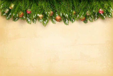 Christmas holiday decoration with branches of tree on old paper background. Vector. Иллюстрация