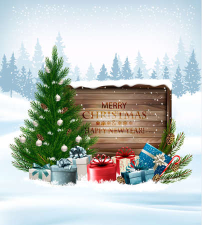 Holiday background with a Christmas tree and presents.