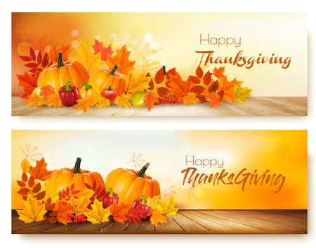 Happy Thanksgiving banners with autumn vegetables and colorful leaves.