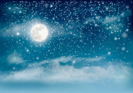 Merry Christmas Holiday winter landscape background with snowflakes and moon. Vector