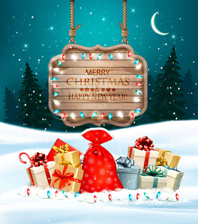 Christmas holiday background with colorful gift boxes and wooden sign. Vector.