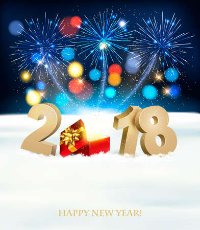 Happy New Year background with 2018, magic box and fireworks. Vector.